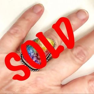Jewelry - GORGEOUS s925 RAINBOW SOLAR DRUZY QUARTZ RING